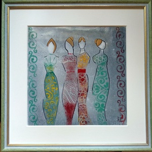 Nők estélyiben-Tűzzománc kép, Kép & Falikép, Dekoráció, Otthon & Lakás, Tűzzománc, Tűzzománc kép\nA kép mérete: 31 cm X 31 cm\nA zománc: 21 cm X 21 cm, Meska