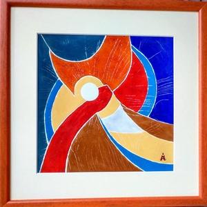 Hold-Tűzzománc kép, Otthon & lakás, Dekoráció, Kép, Képzőművészet, Festmény, Lakberendezés, Falikép, Tűzzománc, Tűzzománc kép\nMérete: 30 cm x 30 cm\nA zománc: 20 cm x 20 cm, Meska