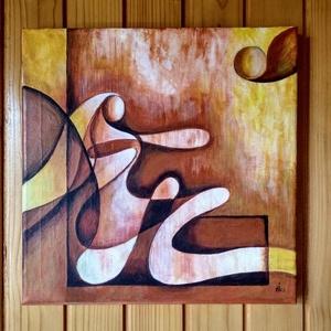 Akril festmény, Művészet, Akril, Festmény, 30 cm x 30 cm-es modern akril festmény feszített vászonra, Meska