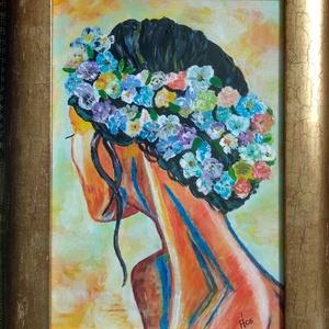 Tahiti lány.  Akril festmény, Otthon & lakás, Dekoráció, Képzőművészet, Festmény, Kép, Lakberendezés, Falikép, Festészet, 28 X 37 cm- es Akril festékkel készült kép farost lemezre, dekoratív kerettel, Meska
