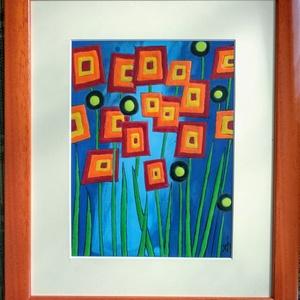Virágok. Tűzzománc kép, Művészet, Festmény, Festmény vegyes technika, Tűzzománc, 26 X 31 cm -es színes modern tűzzománc kép. A zománc mérete: 14,5 X 19,5 cm ., Meska