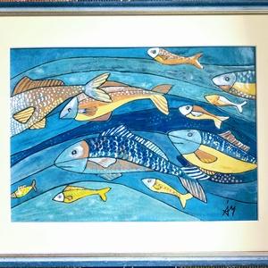 Halak, Művészet, Festmény, Napi festmény, Tűzzománc, 31 X 40 cm - és tűzzománc kép. \nA zománc mérete: 20, 5 X 29,5 cm.., Meska