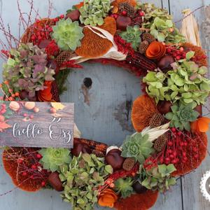 Erdei csendélet őszi ajtódísz, Művészet, Virágkötés, Mindenmás, Az ajtódíszt cirok alapra készítettem. Kimondottan az ősz színeit használtam, úgy alakítva, mintha e..., Meska