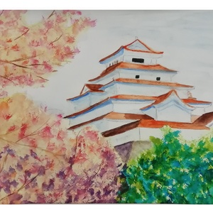 Oszaka Kastélya, Otthon & lakás, Dekoráció, Kép, Képzőművészet, Festmény, Akvarell, Lakberendezés, Falikép, Festészet, Akvarell festmény a Japán oszakai kastélyról. Az interneten talált fotó alapján készítettem a Japán ..., Meska
