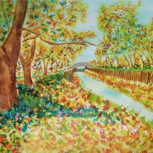 """Őszi Patak, Otthon & lakás, Dekoráció, Kép, Képzőművészet, Festmény, Lakberendezés, Falikép, Festészet, Akvarell festmény az Eger-Patakról \""""kicsit\"""" módosítva: a lakótelepi házak, aszfaltozott utak és beto..., Meska"""