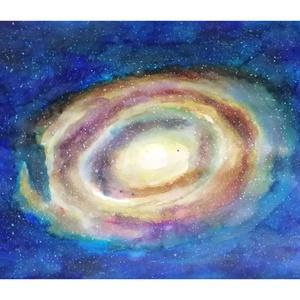 Alfa és Omega, Otthon & lakás, Képzőművészet, Festmény, Akvarell, Lakberendezés, Falikép, Festészet, Akvarell festmény a Science-Fiction és a csillagászat iránti érdeklődésből táplálkozva.\nMéret: 50 cm..., Meska