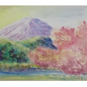 """Fuji Tavasszal, Otthon & lakás, Dekoráció, Kép, Képzőművészet, Festmény, Akvarell, Lakberendezés, Falikép, Festészet, Japán szent hegye. Fotó alapján készített, majd azon saját \""""szájíz\"""" szerint módosított akvarell fest..., Meska"""