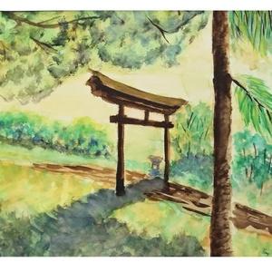 Torii a naplementében, Otthon & lakás, Dekoráció, Kép, Képzőművészet, Festmény, Akvarell, Festészet, Japán Torii kapu, hangulatos naplemente fényviszonyban. Akvarell festmény.\nMéret: 30 cm x 40 cm\nAz a..., Meska