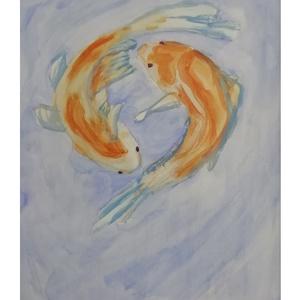 """Pontyok Tánca, Otthon & lakás, Dekoráció, Kép, Képzőművészet, Festmény, Akvarell, Festészet, Koi pontyok \""""tánca\"""" vagy ha úgy tetszik: bunyója a vízben.\nMéret: 30 cm x 40 cm\nAz alkotás 2019 októ..., Meska"""