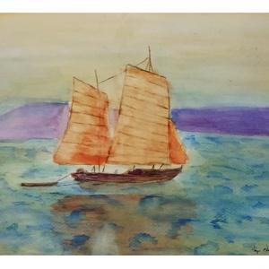 Japán Vitorlás, Otthon & lakás, Dekoráció, Kép, Képzőművészet, Festmény, Akvarell, Festészet, Akvarell festmény egy japán halászhajóról.\nMéret: 30 cm x 40 cm\nAz alkotás 2019 októberében az egri ..., Meska