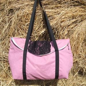 rózsaszín fekete csipkével egyterű nagy váll táska (adazsom) - Meska.hu