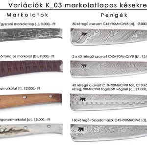 Agancsmarkolatos markolatlapos kés fogazott mintás, damaszkolt pengével, [Ka_03c] (adithiel) - Meska.hu