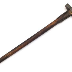 Nyelezett kovácsolt acél kanász fokos, rövid, égetett és olajozott tölgyfa nyéllel , [FN_02a] (adithiel) - Meska.hu