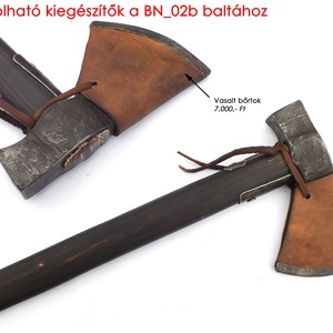 Kovácsolt acél szakállas fokosbalta damaszkolt éllel, kézzel faragott kőrisfa nyéllel, [BN_02b] (adithiel) - Meska.hu