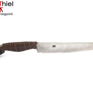 Bőrmarkolatos damaszkolt kosfejes kés rózsadamaszk pengével, [Kb_04d] (adithiel) - Meska.hu