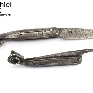 Kosfejes, súrlódás-záródásos, vasmarkolatos bicska duplacsavart damaszk pengével, [Kv_10b] (adithiel) - Meska.hu