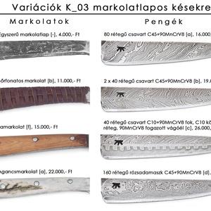 Damaszkolt markolatlapos kés duplacsavart damaszk pengével, [K_03b] (adithiel) - Meska.hu