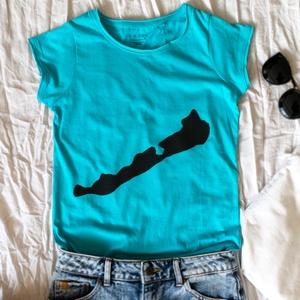 """BALATON kék női póló, Ruha & Divat, Női ruha, Póló, felső, Festett tárgyak, \""""Nekem a Balaton...\"""" :) - egyedileg festett Balaton mintás póló\n\n- kék színű 100% pamut póló\n- kézze..., Meska"""