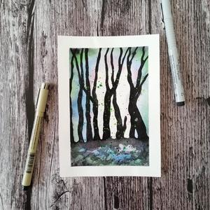 Sejtelmes erdő akvarell nyomat, Otthon & lakás, Képzőművészet, Lakberendezés, Festészet, Sejtelmes, ködös rengeteg - a fák között rejtélyek várnak rád. Lépj hát be te is a festményeim világ..., Meska
