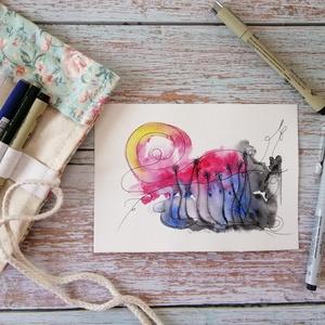 Napos oldal akvarell nyomat, Otthon & lakás, Képzőművészet, Lakberendezés, Festészet, Mindig is naplementés képet szerettél volna az otthonodba, de egyik kép giccsesebb volt, mint a mási..., Meska