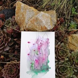 Lila virágok világa akvarell nyomat, Otthon & lakás, Képzőművészet, Lakberendezés, Festészet, Képeimmel arra törekszem, hogy neked is át tudjak adni egy kellemes hangulatot, egy életérzést és eg..., Meska