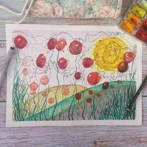 Pipacsos mese akvarell nyomat, Művészi nyomat, Művészet, Festészet, Ezt a pipacsos mező képemet az álmom alapján illusztráltam; kanyargó vonalak, gyönyörű, piros virágs..., Meska