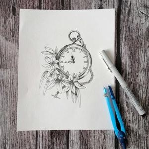 Liliomos zsebóra tus nyomat, Otthon & lakás, Képzőművészet, Grafika, Fotó, grafika, rajz, illusztráció, Fekete-fehér, aprólékosan kidolgozott zsebóra egy különleges virággal, a liliommal karöltve. Ha kedv..., Meska