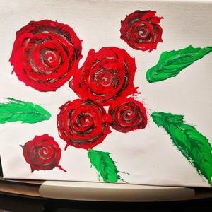 Akrilfestèkkel kèszült kèp rózsa motívumokkal, Művészet, Más művészeti ág, Mindenmás, Rózsákat ábrázolo kèpem modern lánctechnikával kèszült vászonra. \n\nMèrete :55*38cmq, Meska