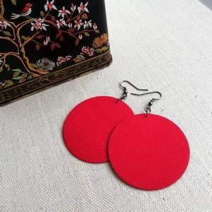 Valódi piros MAXI textilfülbevaló, Ékszer, Lógós kerek fülbevaló, Fülbevaló, Igazi piros minőségi patchwork anyagból készítettem Neked ezt a fülbevalót.  Ezüst színű, nikkelment..., Meska