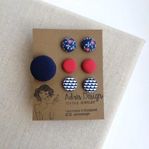 Ékszerszett MINI textilfülbevaló csomag 3 pár + gyűrű  , Ékszer, Ékszerszett, Sötétkék alapon virágos, egyszínű rozsdabarna, op art, kék-fehér hullám mintás Mini fülbevaló + egys..., Meska
