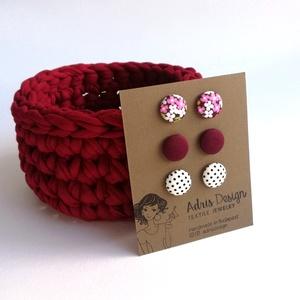 MINI textil fülbevaló csomag csajos színekben - 3 pár , Ékszer, Pötty fülbevaló, Fülbevaló, Rózsaszín virágos, egyszínű bordó és fehér alapon fekete tűpettyes kombináció csajos színeiben. Ezüs..., Meska