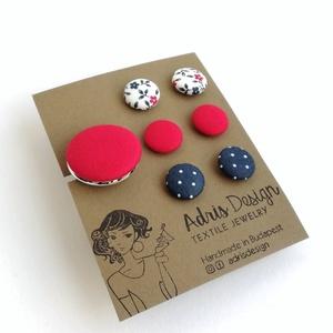 Ékszerszett MINI textilfülbevaló csomag 3 pár + gyűrű  , Ékszer, Pötty fülbevaló, Fülbevaló, Fehér alapon virágos, egyszínű hideg piros, sötétkék alapon pöttyös mintás Mini fülbevaló + egyszínű..., Meska