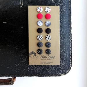 MINI textil fülbevaló csomag, tél színekben - 7 pár , Ékszer, Pötty fülbevaló, Fülbevaló, 7 pár textillel bevont gomb fülbevaló tél típusoknak válogatva. Sötét és világos kontrasztja egy csi..., Meska