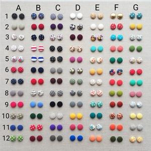 MINI textil fülbevaló csomag, 7 pár - variálható, Ékszer, Pötty fülbevaló, Fülbevaló, Állítsd össze kedved szerint saját fülbevaló csomagod MINI (1,5 cm) méretben.  A kért minták kódját ..., Meska