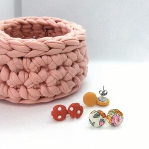 Micro textil fülbevaló csomag meleg színekben - 3 pár  (adris) - Meska.hu
