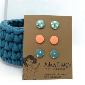 Micro textil fülbevaló csomag, Tavasz színekben - 3 pár , Ékszer, Pötty fülbevaló, Fülbevaló, Hármas fülbevaló csomag pici, 1 centiméteres méretben világos türkiz alapon virágos, egyszínű barack..., Meska