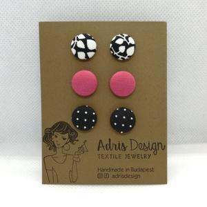 MINI textil fülbevaló csomag - 3 pár , Ékszer, Fülbevaló, Pötty fülbevaló, Növényi mintás fekete-fehér, egyszínű rózsaszín és pöttyös kombináció. Ezüst színű, nikkelmentes alk..., Meska