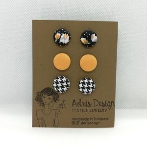 MINI textil fülbevaló csomag - 3 pár , Ékszer, Fülbevaló, Pötty fülbevaló, Fekete alapon rózsa mintás, egyszínű okkersárga és tyúkláb mintás kombináció. Ezüst színű, nikkelmen..., Meska