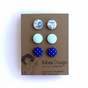 MINI vagy Micro textil fülbevaló csomag, variálható,  Állítsd össze a saját fülbevaló csomagod - 3 pár (adris) - Meska.hu