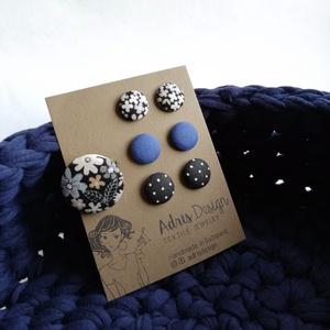 Ékszerszett MINI textilfülbevaló csomag 3 pár + gyűrű   (adris) - Meska.hu