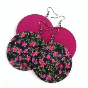 Fekete alapon pink virágos és egyszínű mély pink Maxi textilékszer csomag - 2 pár, Ékszer, Fülbevaló, Lógós kerek fülbevaló, Fekete alapon pink virágmintás és egyszínű sötét, mély pink színű textilből készítettem Neked ezeket..., Meska