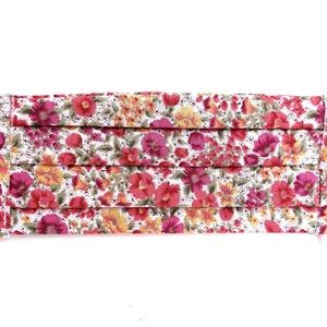 Kétrétegű vidám, színes virágmintás textilmaszk, Maszk, Arcmaszk, Női, Kétrétegű szájmaszk virágmintás pamut textilből.   Két méretben rendelhető (hajtogatott állapotban):..., Meska