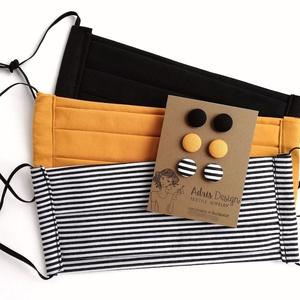 Fekete, csíkos, mustársárga kétrétegű szájmaszkok 3 db + MINI textilékszer szett egységcsomag, Maszk, Arcmaszk, Női, Hármas Micro vagy Mini fülbevaló csomag 3 db szájmaszkkal.  Fekete egyszínű, mustársárga egyszínű és..., Meska