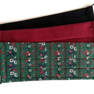 Kétrétegű textilmaszk csomag, 3 db, bordó, fekete, népies sötétzöld virágmintás, Maszk, Arcmaszk, Női, 3 db kétrétegű textil szájmaszk, egyszínű bordó, fekete, népies sötézöld virágmintás.  Két méretben ..., Meska