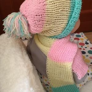 Kézzel kötött baba sapka és sál választható színekben , Sapka & Sál szett, Sál, Sapka, Kendő, Ruha & Divat, Kötés, Horgolás, Kézzel kötött kiváló minőségű egyedi színes sál és sapka kisbabáknak.\nA feltöltött minta esetében a ..., Meska