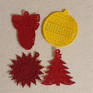 karácsony, Karácsony & Mikulás, Karácsonyi dekoráció, A karácsonyfadíszek gépi hímzéssel készültek. Méretük mintától eltérő. :)  Az áruk egy gartirúrára v..., Meska