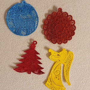Karácsonyi díszek 1.0, Karácsony & Mikulás, Karácsonyi dekoráció, A karácsonyfadíszek gépi hímzéssel készültek. Méretük mintától eltérő. :)  Az áruk egy gartirúrára v..., Meska