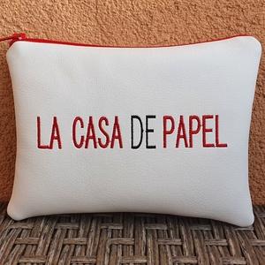 La casa de papel, Táska & Tok, Neszesszer, Hímzés, Varrás, Fehér textilbőrből készült neszesszer a kedvenc sorozatom álltal készült felirattal.\n\nA hímzés gépi ..., Meska