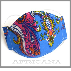 Lila, kék  mintás mosható pamut arcmaszk, szájmaszk, afrikai autentikus textilia, NoWaste, Táska, Divat & Szépség, Szépség(ápolás), Maszk, szájmaszk, Varrás, Egyedi szájmaszk, arcmaszk normál női méretben. Anyaga kívül 100 % pamut , különleges, autentikus af..., Meska