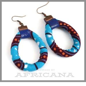 Afrikai stílusú, kék textil női fülbevaló, kötél fülbevaló, Ékszer, Fülbevaló, Varrás, Ékszerkészítés, Nagy rajongója vagyok az afrikai stílusú textíliáknak , pompázatos színük, jellegzetes  mintájuk sem..., Meska